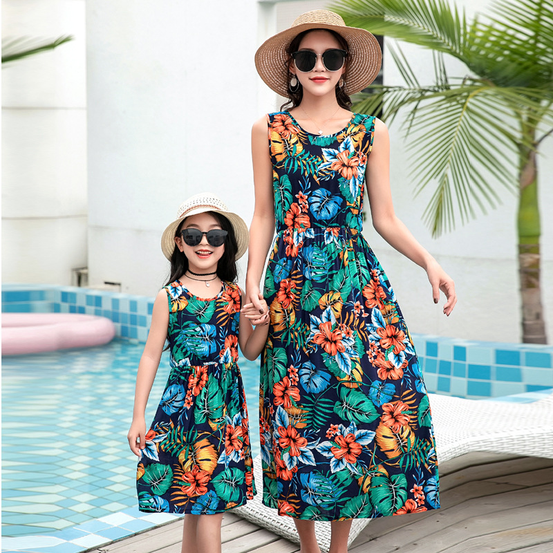 Summer Mother Daughter Beach Dress Floral Printed Cotton Mommy And Me Clothes Baby Girl Clothes Women Swimsuit Mom Daughter