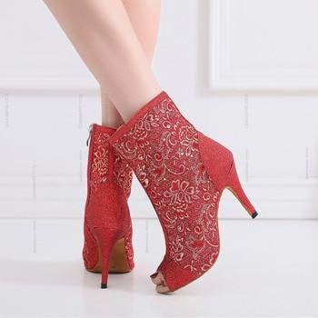 Trending Jazz Salsa Ballroom Latin Dance Shoes For Dancing Women Plus Size Modern Tango Dances Low With Heels Satin Boots