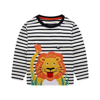 Chłopcy dzieci odzież jesienno-wiosenna dzieci t-shirty dla chłopców z długim rękawem t-shirty paski kieszeń hurtownia lew 7007 tanie i dobre opinie COTTON Europejskich i amerykańskich style Stałe REGULAR O-neck Pełna Pasuje prawda na wymiar weź swój normalny rozmiar