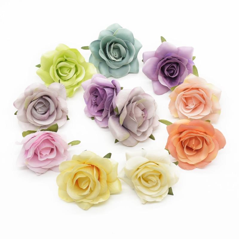 6pcs 7cm Artificial rose heads for Home decoration accessories Flower arrangement Diy Headwear Indoor furnishings Wedding brooch