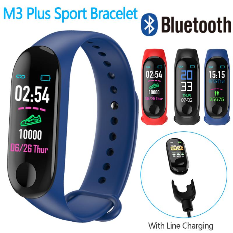 Waterproof Running Pedometer M3 Plus Blood Pressure Monitor Heart Rate Fitness Tracker Smart Bracelet Step Counter Pedometers