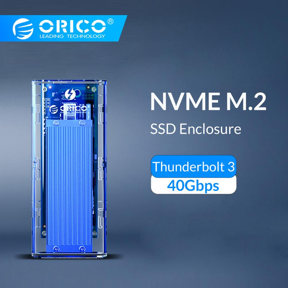 ORICO Thunderbolt 3 M.2 NVME SSD Enclosure Support 40Gbps 2TB Transparent USB C SSD Case Box With C To C Cable For Mac Windows