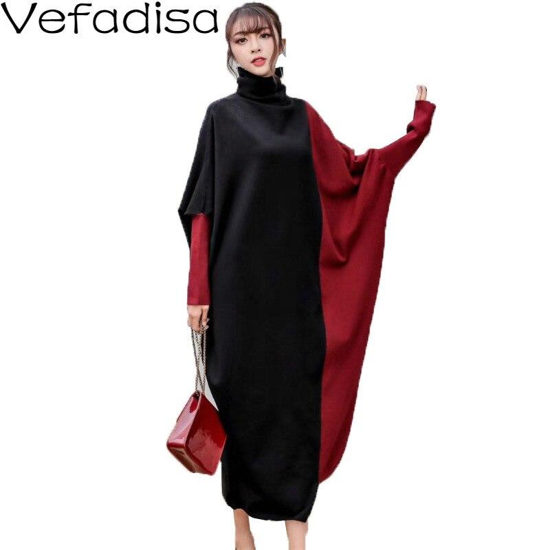 2020 printemps hiver Patchwork robe irrégulière femmes col roulé pulls pull robe ample à manches longues robe femmes 2019 QYF787