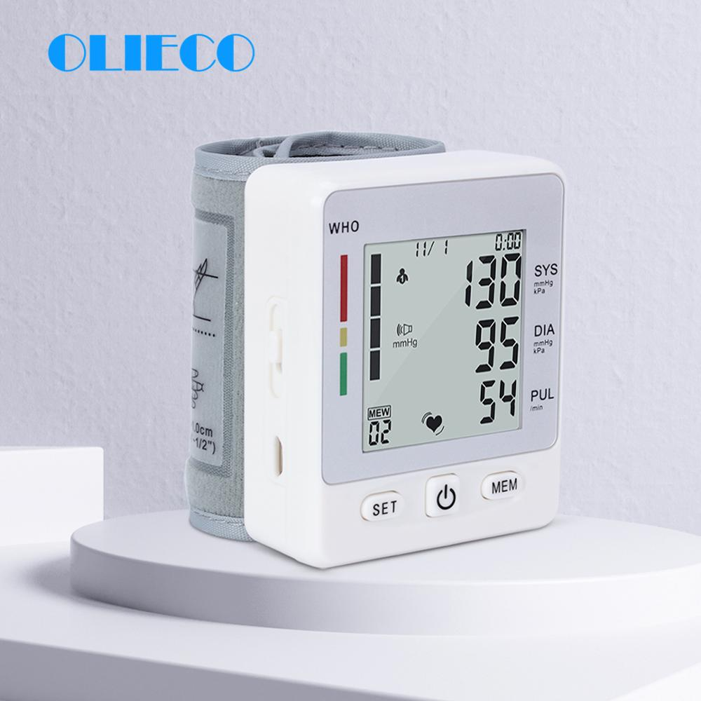 OLIECO Automatic Digital LCD Health Care Wrist Blood Pressure Monitor Smart Accurate Medical Heartbeat Pulse PR Tonometer CE