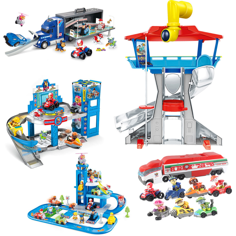 Paw Patrol Dog Plastic Playset Observatory Toy Patrulla Canina Puppy Parking Lot Action Figures Model Children Toys Gifts 2A34