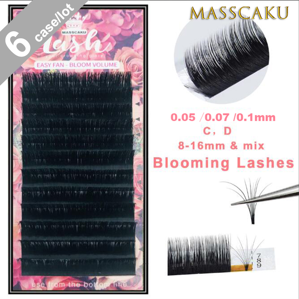6/лот MASSCAKU легко дуя наращивание ресниц Цветущий объем ресниц самостоятельных решений быстро вентиляторы Bloom ресниц оптом
