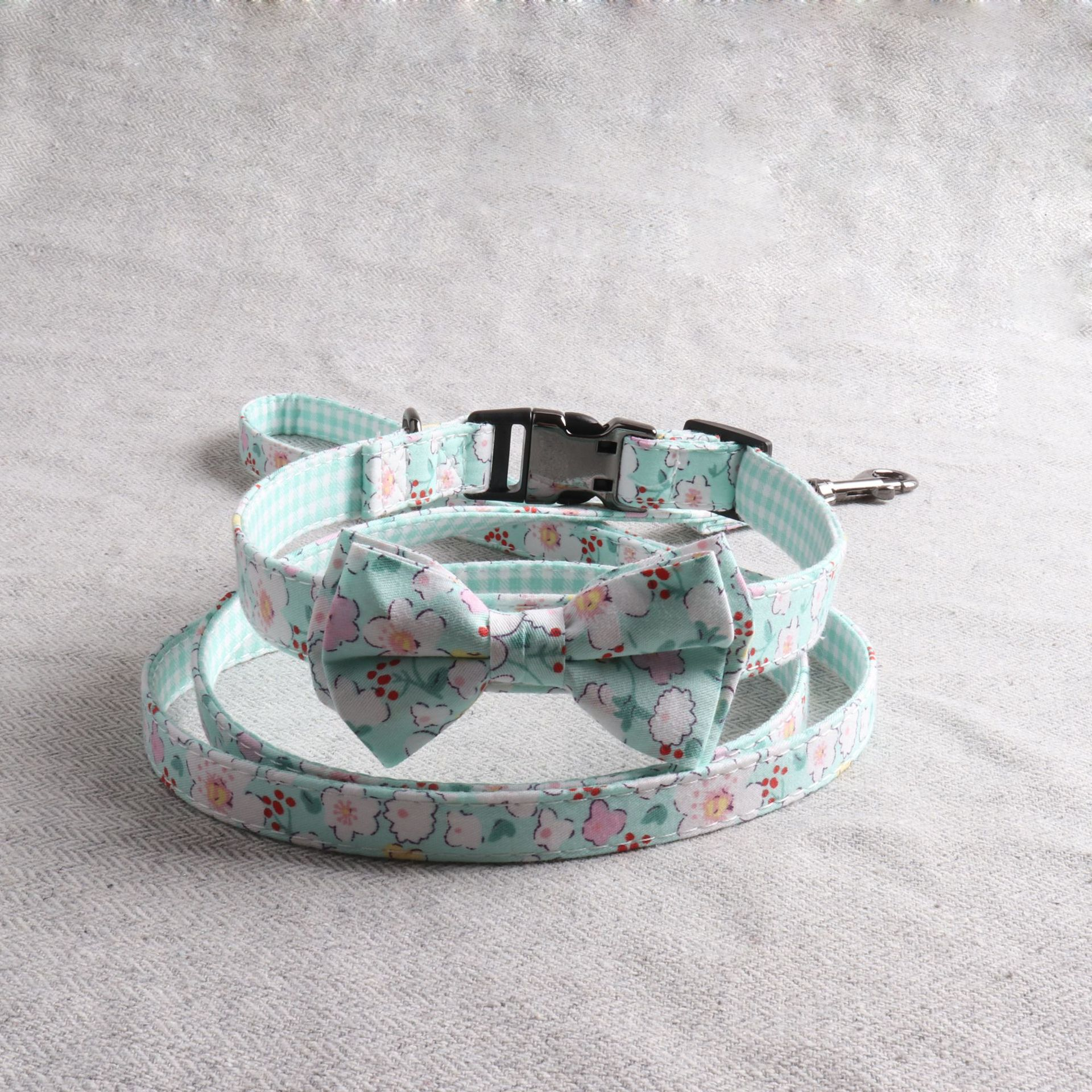 Amin Lattice Fabric Pet Collar Small Fresh New Style Floral-Print Dog Neck Ring Semi-metallic Release Buckle Can Carve Writing