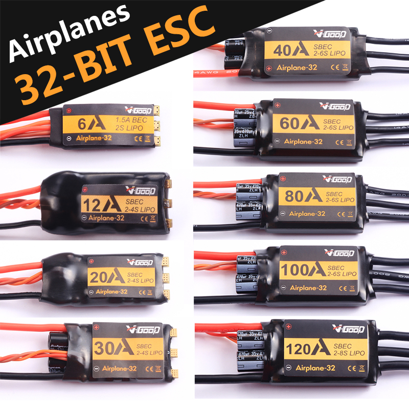 VGOOD Brushless ESC 6A /12A/20A/30A/40A/60A/80A/100A/120A 2S-6S 32-Bit With 1.5 ONE SBEC for Fixed Wing RC Airplane FPV Drone image