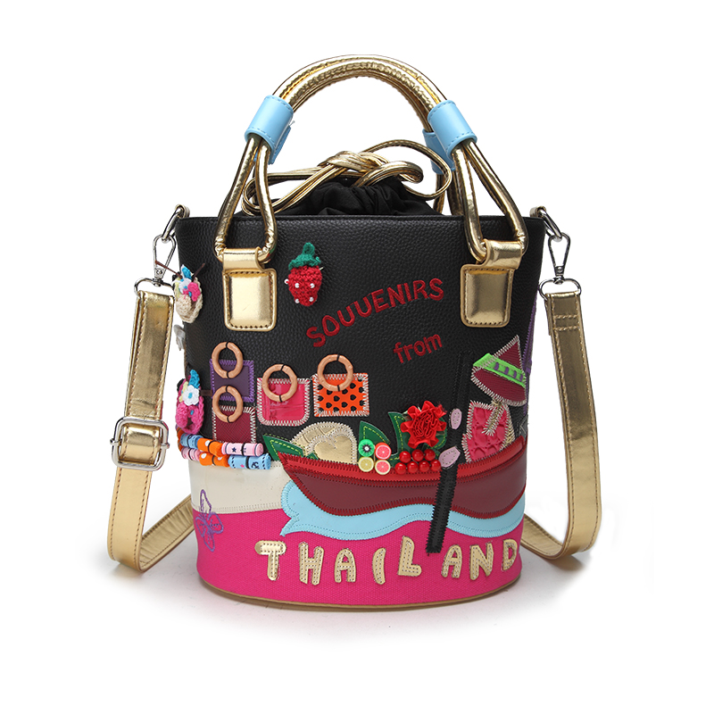 New Women's Bag Hand Embroidery Contrast Color Draw Belt Trend Shoulder Bag Handbag Messenger Bag Bucket Bag