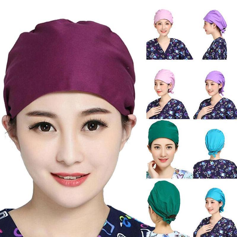 7 Colors Women And Men Cotton Bandage Adjustable Scrub Cap Sweatband Bouffant Hat Doctor Nurse Bouffant Hat Adjustable HeadCover