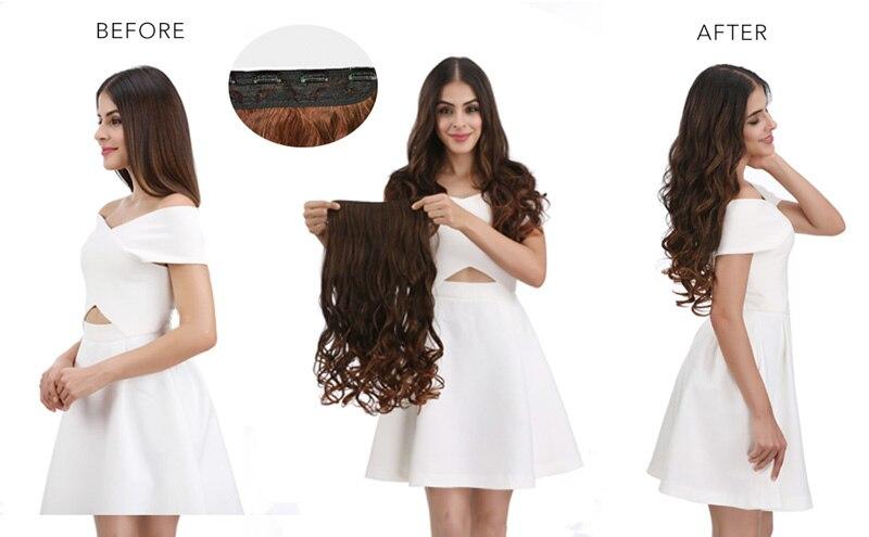 5 clip-in extensões de cabelo longo em