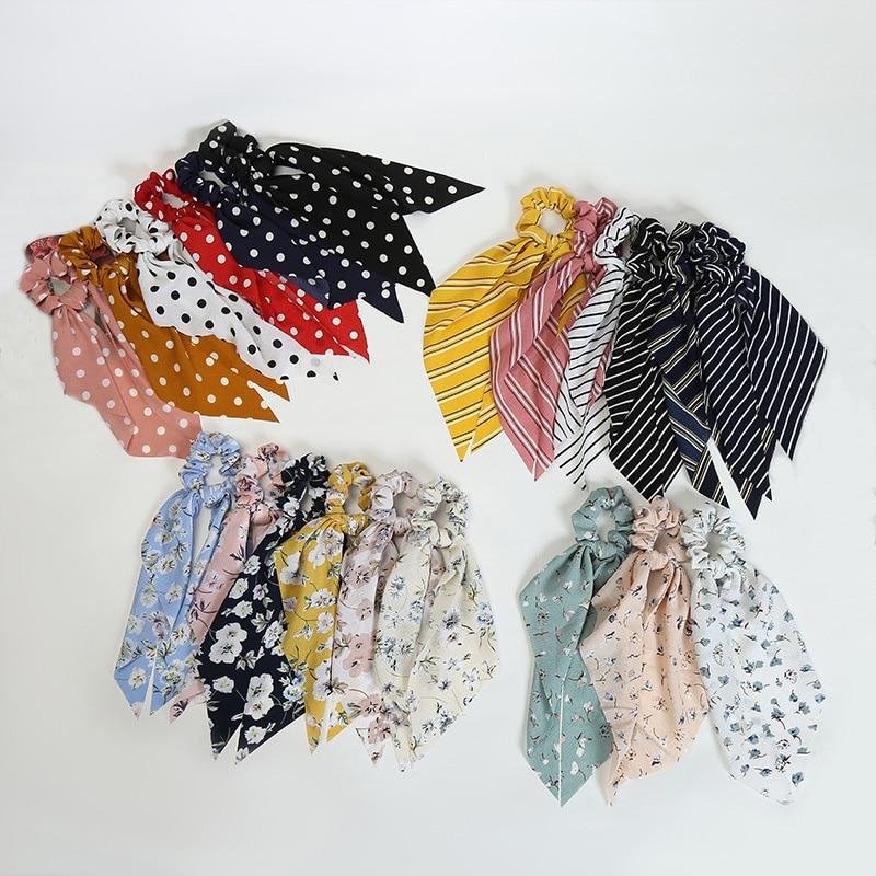 Dot Stripe Scrunchie Bow Streamers Hair Ties Ponytail Elastic Hair Rope For Women Hair Ribbons Girl Holder Rope Hair Accessories