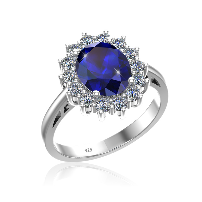szjinao Women Sapphire Ring 925 Sterling Silver Princess Kate Wedding Engagement Jewelry 3.3ct Party Costume Female Accessories