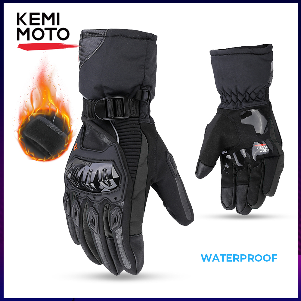 KEMiMOTO Winter Warm Motorcycle Gloves Touch Screen Waterproof Windproof Protective Winter Gloves Men Guantes Moto Luvas