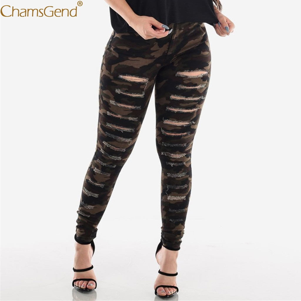 Womens Hole Camouflage Printing Button High Waist Jeans Pants Women High Waist Jeans Pants Pockets Hole Jeans Pants Women Sept