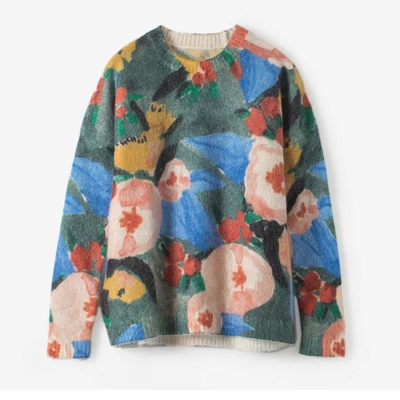 2019 Autumn And Winter New Oil Painting Printing Color Loose And Thin Knitted Wool Sweater