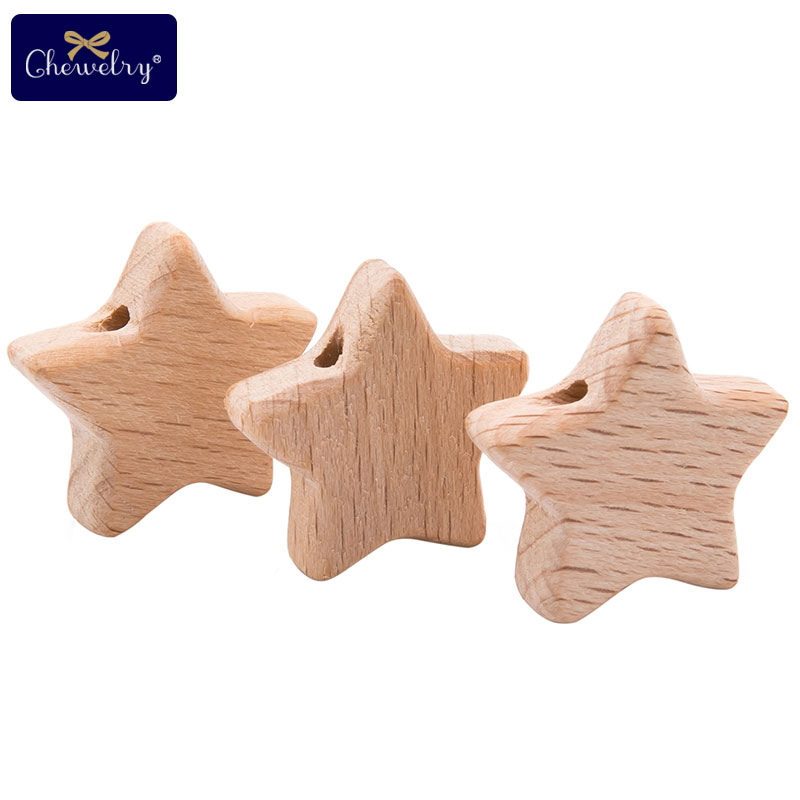 10pc Baby Beech Wooden Teether With Holes Beads Star Rodent DIY Pacifier Chain Nursing Necklace Bracelet For Children's Products