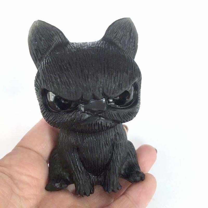 באיכות גבוהה טבעי כועסים כלב צלמית קרפט מגולף שחור obsidian חן חיות פסל לעיצוב בית צ 'אקרה ריפוי XY