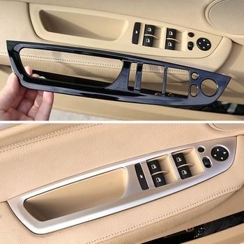 цена на 4pcs Carbon Fiber Texture Car Interior Window Lifter Switch Button Frame Cover Trim For BMW X5 X6 E70 E71 2008 - 2011 2012 2013