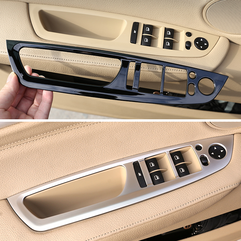 4pcs Carbon Fiber Texture Car <font><b>Interior</b></font> Window Lifter Switch Button Frame Cover <font><b>Trim</b></font> For <font><b>BMW</b></font> X5 X6 <font><b>E70</b></font> E71 2008 - 2011 2012 2013 image