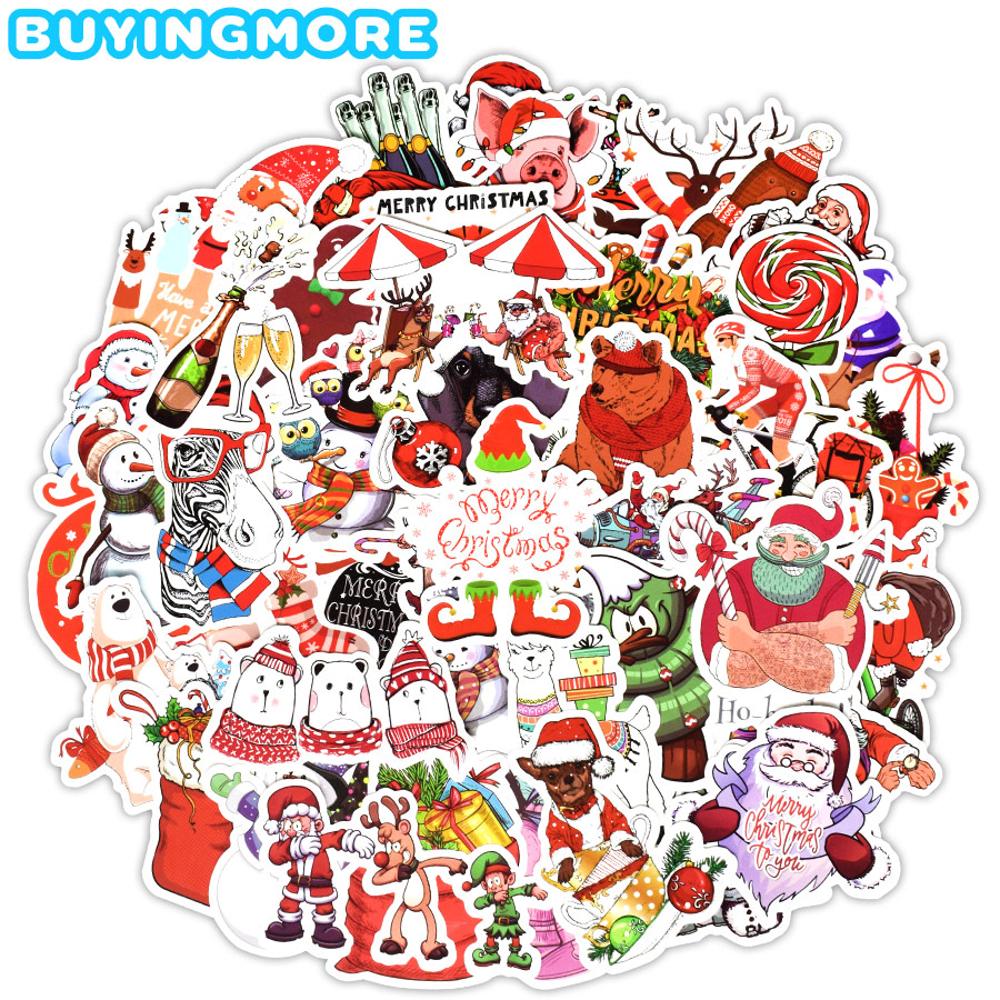 50 PCS Christmas Decal Stickers Chimney Old Man Socks Sticker Pack Christmas Gift For Kids To DIY Holiday Cards Boxes Room Decor