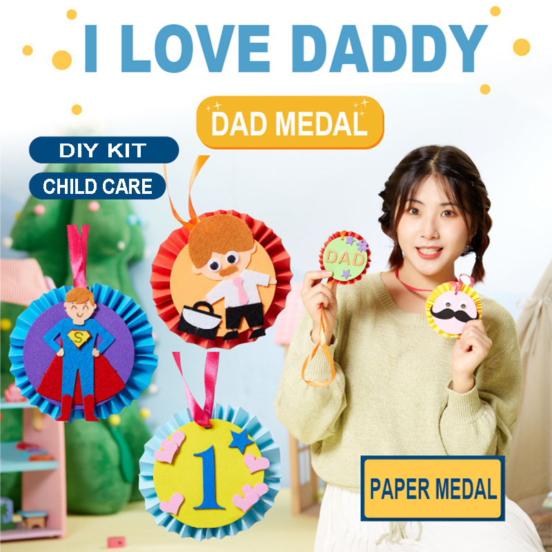 Kindergarten Lots Arts Crafts Diy Toys Dad Medal Crafts Kids Educational For Children's Toys Gift Girl/boy Christmas Gift 16901