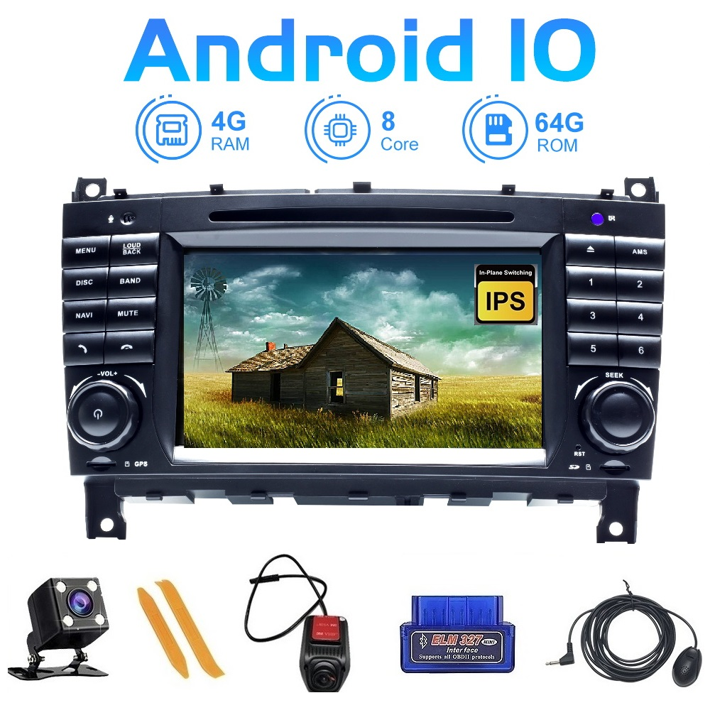 ZLTOOPAI Android <font><b>10</b></font> For Mercedes Benz W203 W209 W219 A160 C180 C200 CLK200 Multimedia DVD GPS Navigation SWC IPS Car Auto Radio image