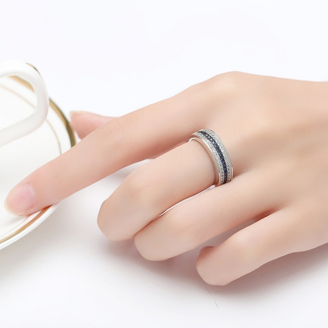Jellystory 925 Sterling Silver Ring with Round Sapphire Zircon Gemstone Fine Jewelry ring for Women Wedding Party Gift wholesale 5