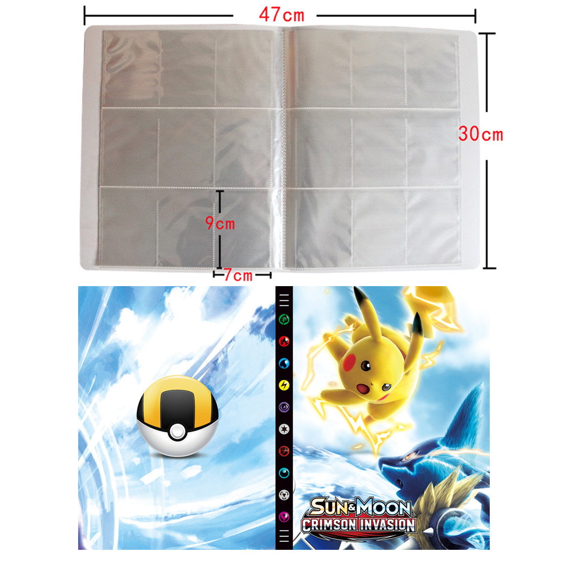 New Large Capacity Card Album Book For Pokemon Top Loaded List Playing Cards Holder Pokemon 432 Cards Album Toys Birthday Gift