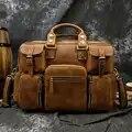 Luufan, 5 карманов, многофункциональный кожаный портфель для мужчин, Воловья кожа, деловая сумка с плечевым ремнем, вместительный портфель, сум...