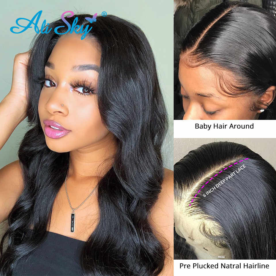 Alisky HD, pelucas de cabello humano con encaje Frontal transparente para mujeres negras, pelucas frontales de encaje prearrancadas peruanas, 13x6, cabello Remy ondulado corporal