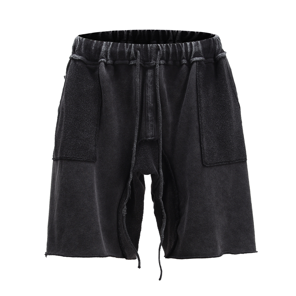 Heavy-wash Black Distressing Shorts Relaxed Fit Elastic Waist Drawstring Sweat Shorts Summer Streetwear