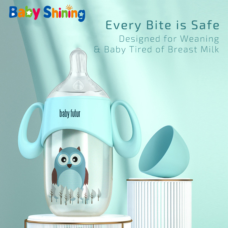 Baby Shining Baby Bottle PPSU 300ml BPA Free Wide Mouth Anti-throwing Straw Handle Newborn Anti-inflation Feeding Bottle