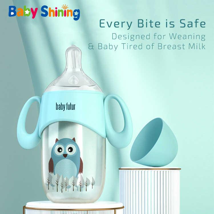 Biberón de bebé brillante PPSU de 300ml sin BPA, con mango de paja antienvejecimiento y boca ancha, biberón antiinflado para recién nacidos