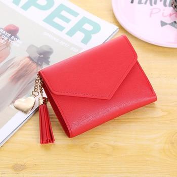 Fashion Womens Wallet Cute Student Tassel Pendant Trend Small PU 2019 Coin Purse Women Ladies Card Bag For
