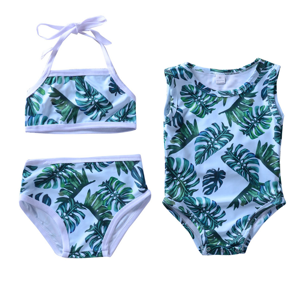 Childrenswear INS Hot Selling CHILDREN'S Swimsuit Set Europe And America Girls Green Leaf Swimsuit