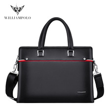 WILLIAMPOLO Briefcase Men Genuine Leather Men Bag Fit 13'' Laptop Business Handbag Luxury Bag Leather Natural Briefcase PL203069