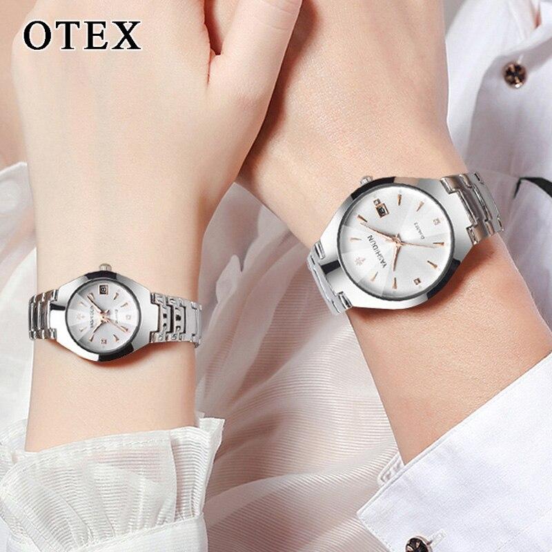 Couple Watch Waterproof Calendar Business Men's Watch Women's Steel Belt Quartz Rhinestone Disc Fashion Bracelet Reloj Mujer