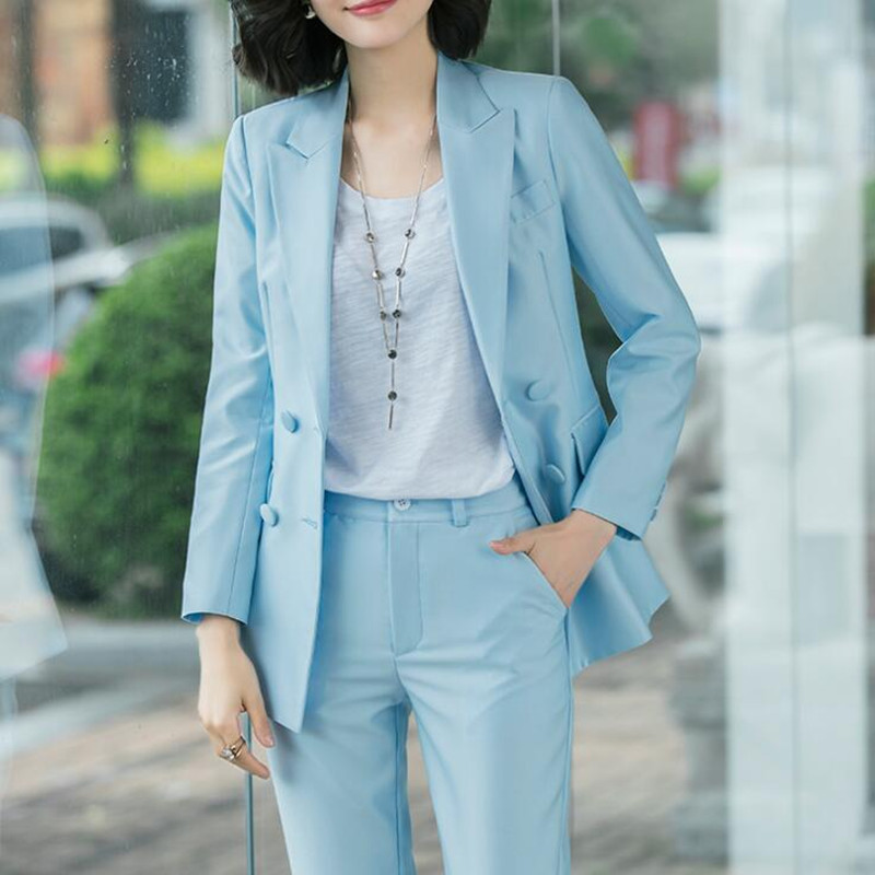 Pants Suit Women Office Ladies Wear Business Formal Work Elegant Double Breasted Long Sleeve Casual Blazer 2 Piece Set Plus Size