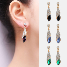 1 pair Girls Fashion Formal Earrings Women Crystal Water Drop Earrings Jewelry Wedding Pierced Dangle Earrings 4 colors все цены