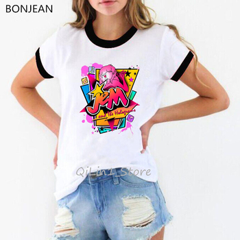 Jem And The Holograms T Shirt Summerwomens Short Sleeve O-neck T-shirt Casual female Hip Hop tshirt graphic Tees Tops t-shirts mens t shirts broken heart man red camisa top tshirt 2018 new fashion short sleeve t shirt round neck pure cotton hip hop tees