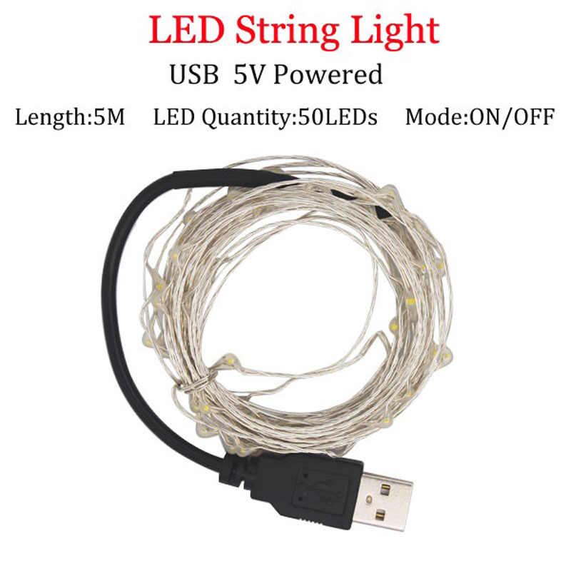 5V USB led מחרוזת אורות 10m 5M סוללה מופעל חיצוני חם לבן/RGB נחושת חוט חג המולד פסטיבל חתונה מסיבת פיות אורות