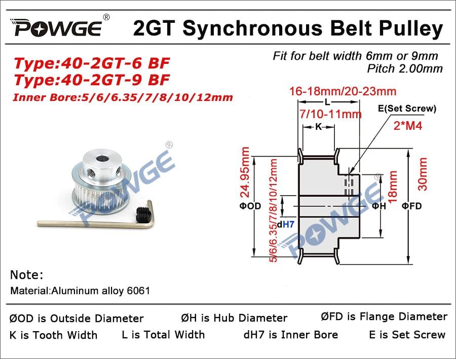 POWGE 2M/2GT 20Teeth 40Teeth Synchronous Timing Pulley Belt Bore5-12mm 1:2 20T:40T Speed Ratio for 232-2GT Belt width 6/9mm Kit