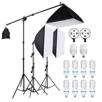 Photography Studio Softbox Lighting Kit With Cantilever Frame Support System 50x70cm Softbox E27 25W/135W Lamp Boom Arm Light