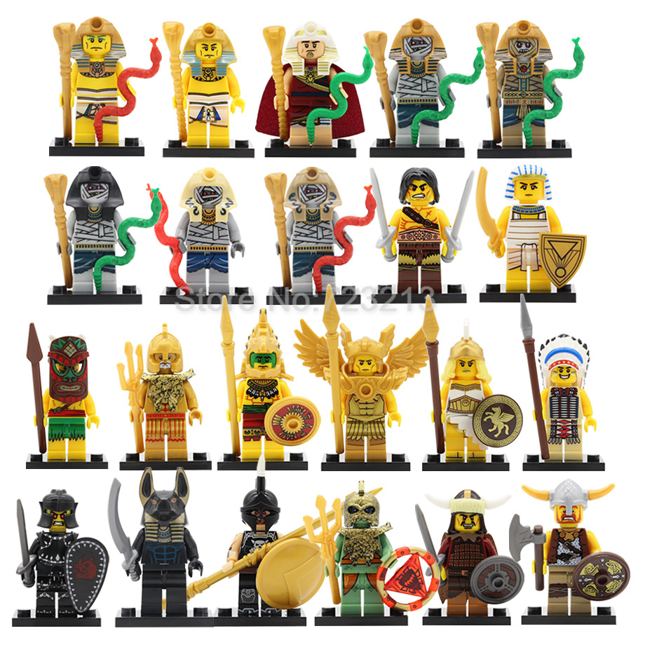 Single Sale Egyptian Figure Knight Mummy Aztec Viking Warrior Atlantis Pharaoh Barbarian Building Blocks Set Bricks Toy Legoing