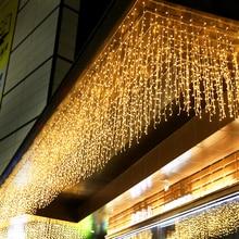 220 В ЕС Светодиодный светильник на Рождество сосулька водопад Фея гирлянда занавес светильник s гирлянда открытый для свадебной вечеринки бар новогодний декор