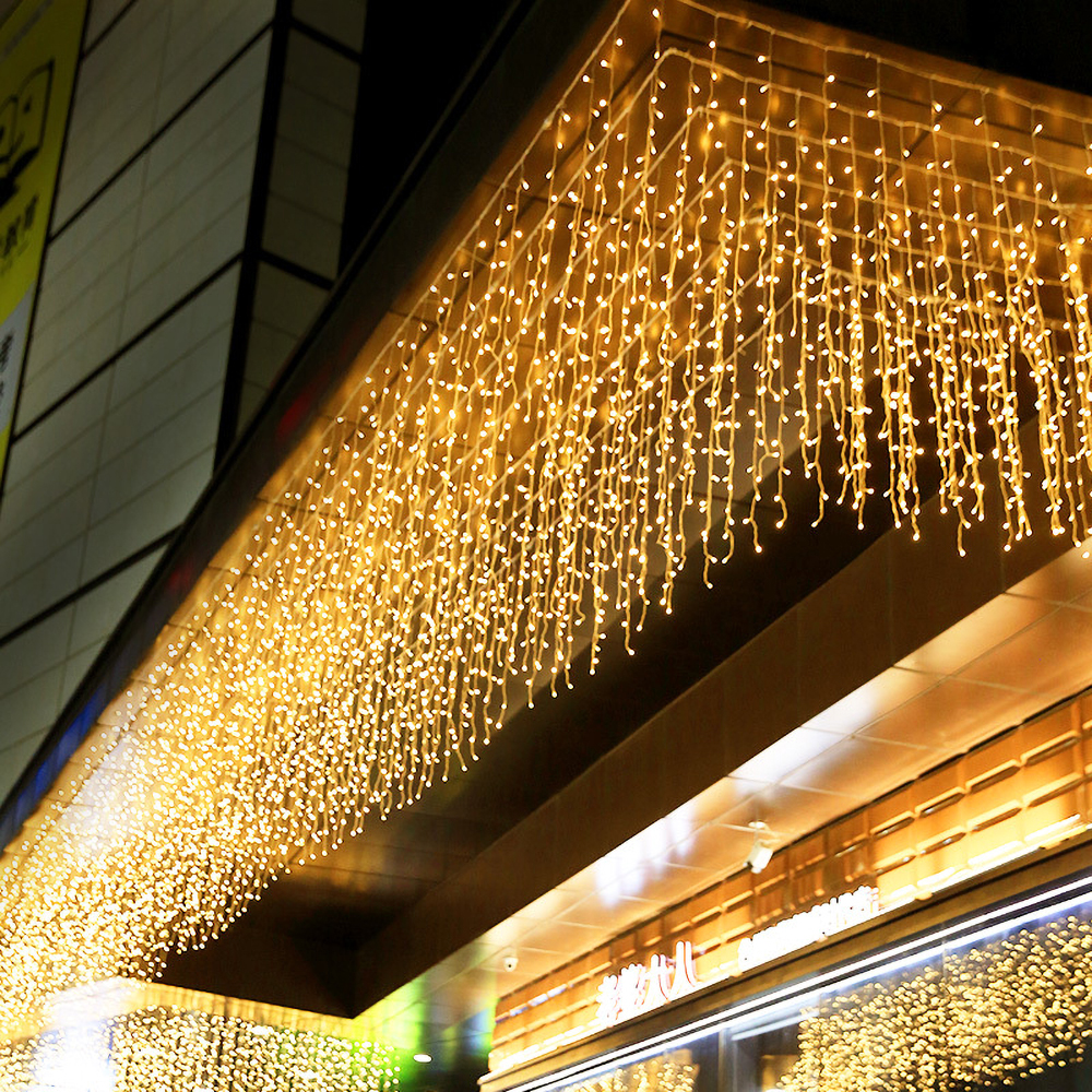 220V EU LED Christmas Light Icicle Waterfall Fairy String Curtain Lights Garland Outdoor For Wedding Party Bar New Year Decor