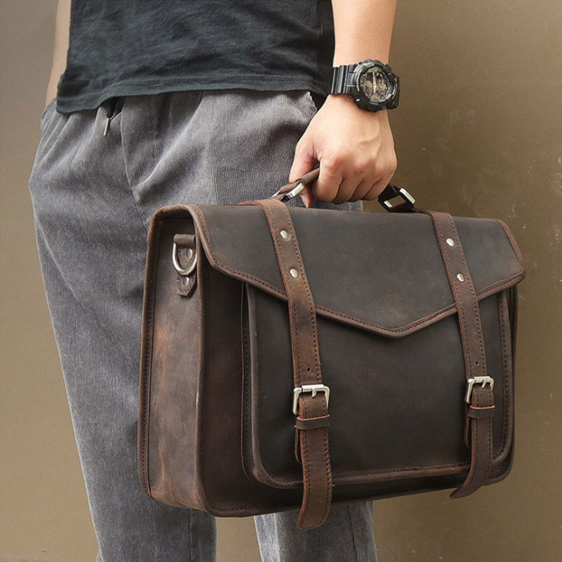 Luufan High Capacity Leather Briefcase Of Man Genuine Leather Business Laptop Bag For Male Vintage Fashion Office Shoulder Bag