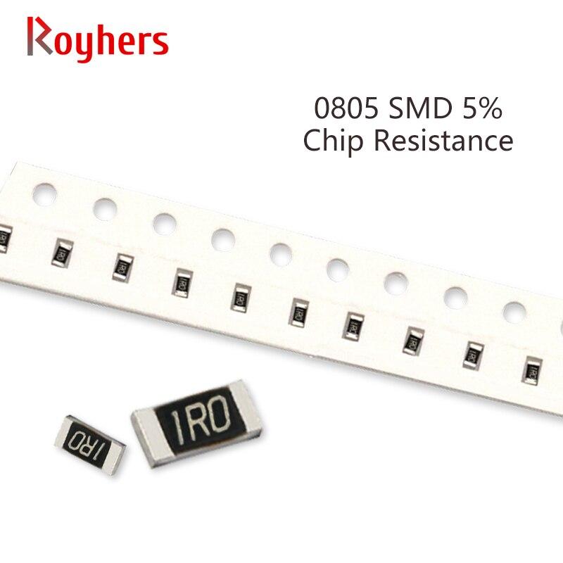 Комплект резисторов 100 SMD 0805, допуск 5%, 0R-22M, 91R, 100R, 110R, 120R, 130R, 150R, 160R, 10 Ом, полное значение, доступно, набор «сделай сам», шт.