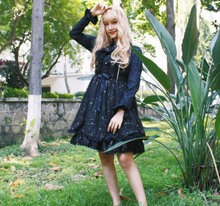 Japanese sweet lolita strap dress vintage high waist cute printing star victorian dress kawaii girl gothic lolita cos loli(China)